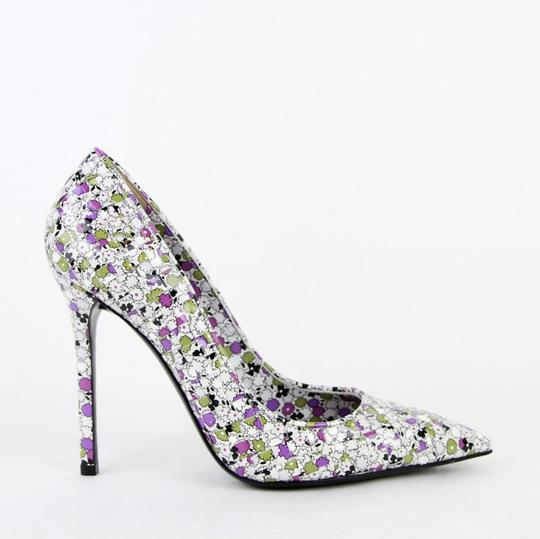 Bottega Veneta Women Green/Purple Leather Floral Green/Purple Pumps Image 5