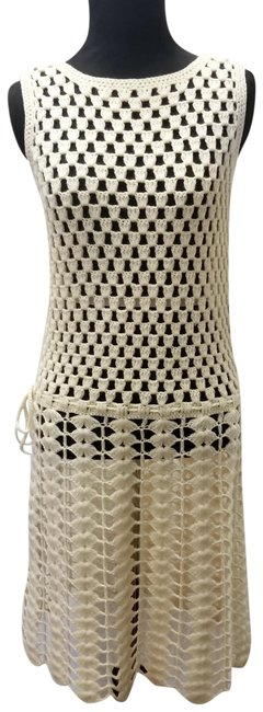 Preload https://img-static.tradesy.com/item/23519015/ivory-70-s-knit-weave-boho-sweater-dressswim-cover-mid-length-short-casual-dress-size-4-s-0-1-650-650.jpg
