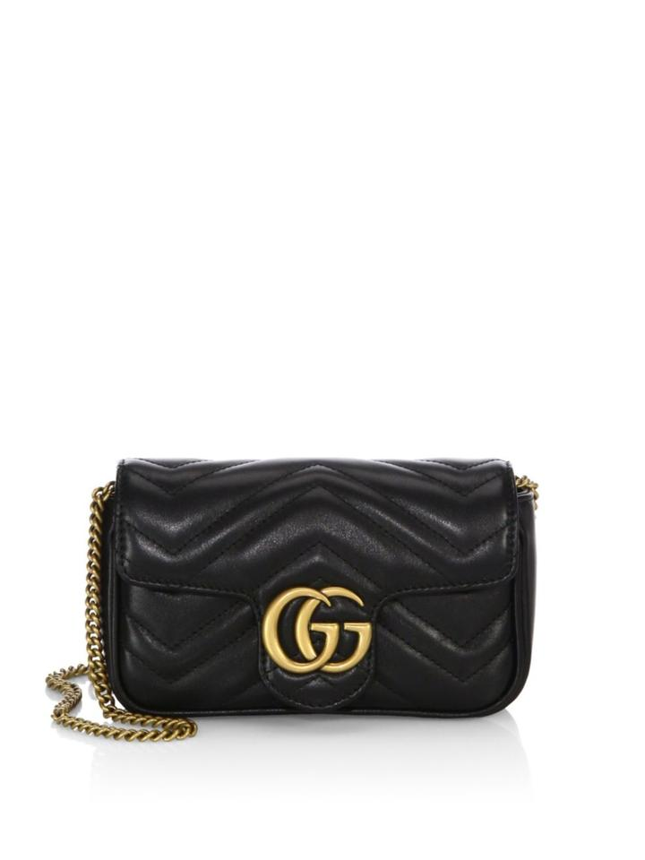 9ca4aac60b19 Gucci Marmont Matelasse Mini Gg Black Calfskin Leather Cross Body ...