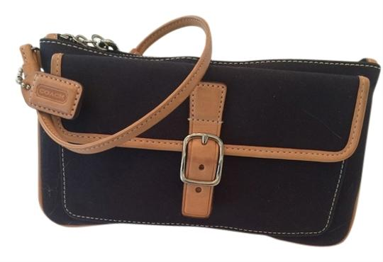 Coach Tag Black with light brown leather trim, stainless buckle, front pocket Clutch
