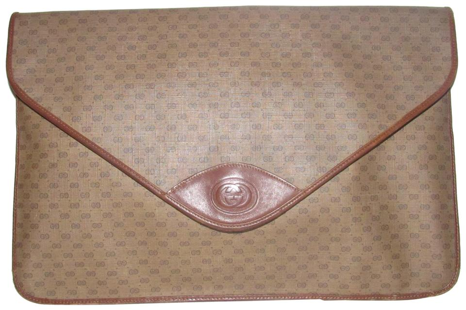 bd385ae7f4b Gucci Dressy Or Casual Rare Document Laptop Mint Vintage brown leather small  G logo ...