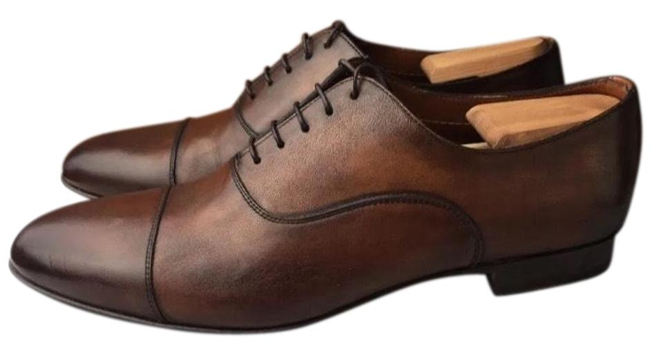 Santoni 'darian' Cap Toe Oxford-brown Color Calf Leather-sz Formal 10 1/2 D Italy Formal Leather-sz Shoes ecec85