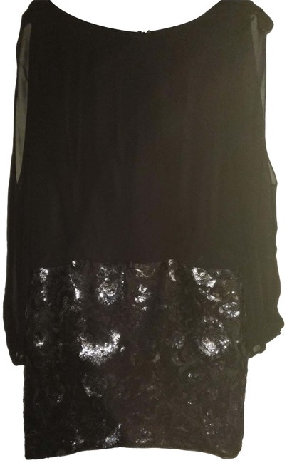 Item - Black Pewter Silver Sequined Sheath Cutout Sleeve Short Night Out Dress Size 10 (M)
