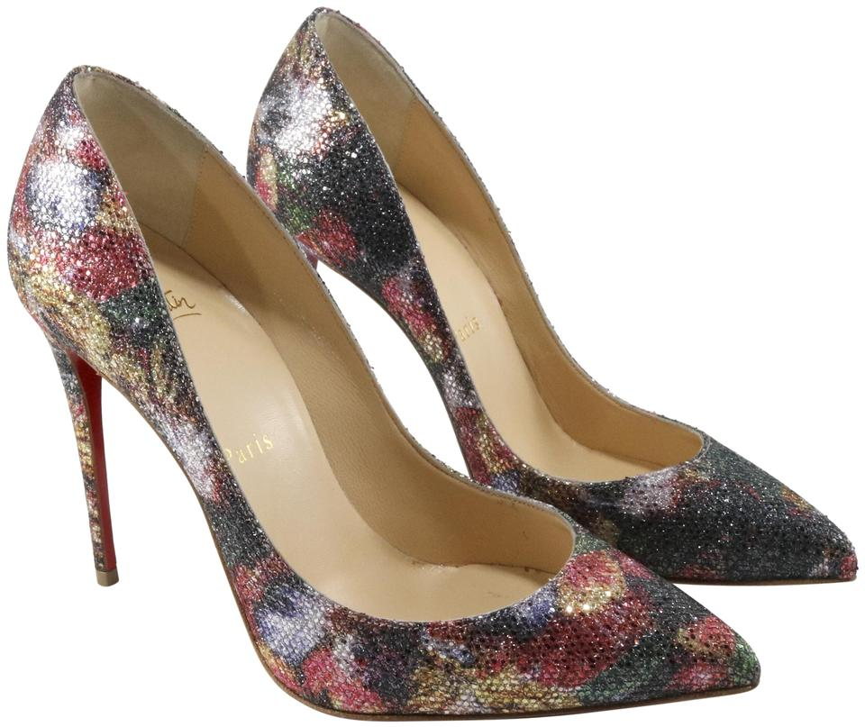Christian Louboutin Red Green Multi Glitter Euro Pigalle Follies Floral Glitter Multi Plume #a178 Pumps 752d8e