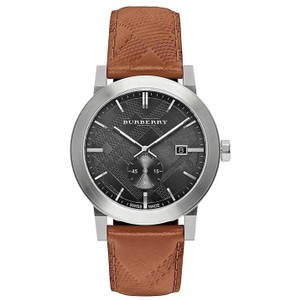 Burberry BU9905 Men's Swiss Chronograph The City Brown Leather Strap Timepiece