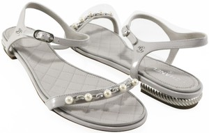 Chanel Pearl Chain gray Sandals