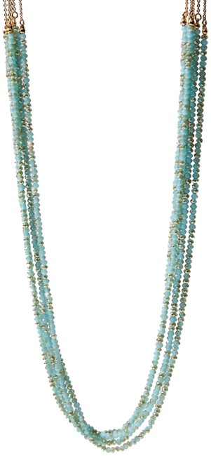 Item - Blue and Gold Beaded Multistrand Necklace