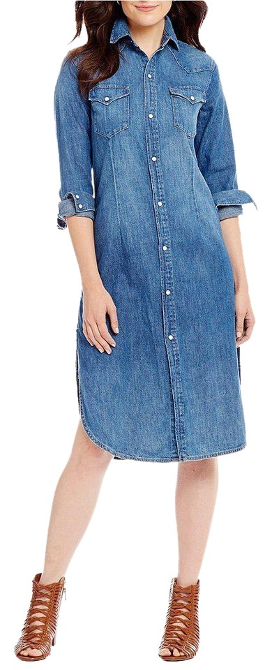 Polo Ralph Lauren Denim Western Mid-length Short Casual Dress Size 2 ... d50b4be9923