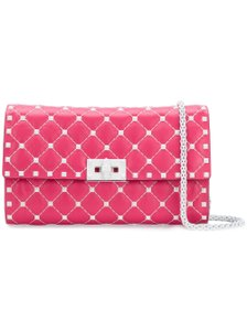 Valentino Rockstud Studded Classic Shoulder Quilted pink Clutch