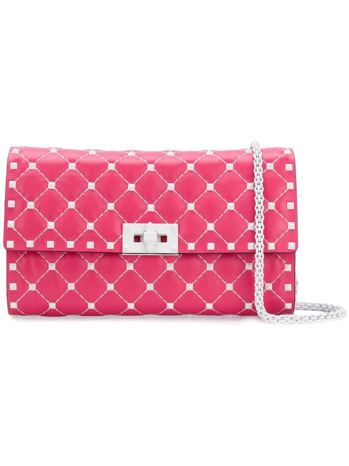 6a8a5abacb Valentino Shoulder Bag Rockstud Free Spike White Quilted Chain Pink Leather  Clutch