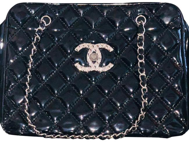 Chanel Timeless Diamond Quilted Double Chain Black Patent Leather Tote Chanel Timeless Diamond Quilted Double Chain Black Patent Leather Tote Image 1
