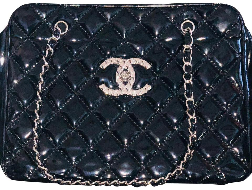 00fea45b845b57 Chanel Timeless Diamond Quilted Double Chain Black Patent Leather Tote