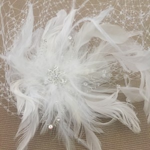 White Birdcage New with Feathers & Rhinestones Includes Blusher Bridal Veil
