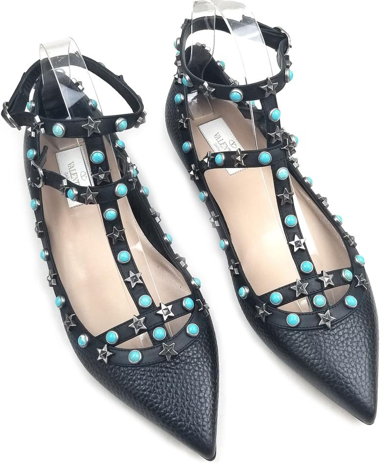 f191b43311e Valentino Nero Antique/Silver 'rockstud Star Studded' Ballerinas Flats Size  EU 38 (Approx. US 8) Regular (M, B) 32% off retail