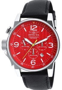 Invicta INVICTA Men's 46mm Force Lefty Red Dial Leather Strap Watch 20133
