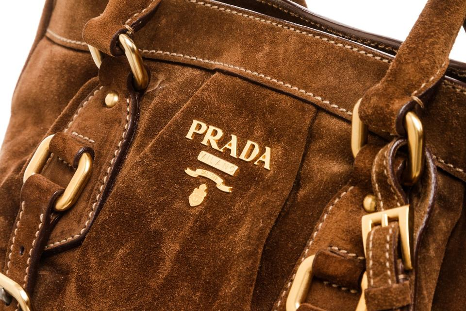 Buckle Prada 483089 Leather Brown Suede Bag Messenger UwFd4wq