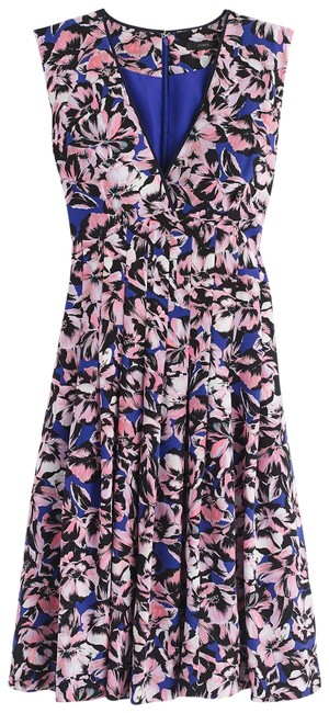 Item - Pink Blue Black Silk Pleated In Hibiscus Print Mid-length Work/Office Dress Size 4 (S)