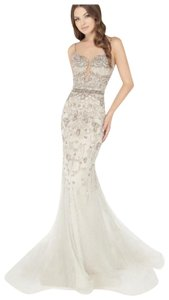 Mac Duggal Couture Fitted Sleeveless Long Nude Beaded Dress