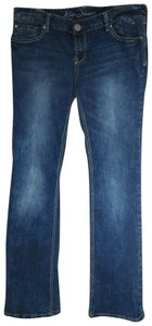 Ariya Jeans Bling Rhinestone Low Rise Distressed Straight Leg Jeans