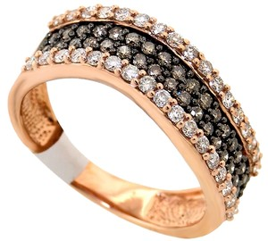 Diamond fashion lady's ring 14k rose gold chocolate H color diamonds Si2 clarity