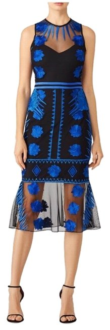 Item - Black & Blue Mesh Flutter with Embroidery Mid-length Formal Dress Size 2 (XS)
