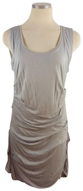 Item - Grey Pin-tucked Gathered Short Casual Dress Size 8 (M)
