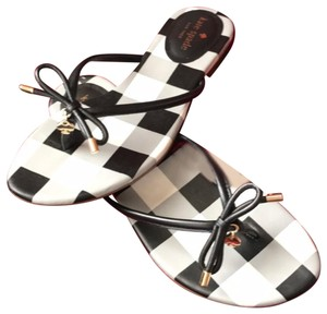 Kate Spade black and white with gold tone Sandals