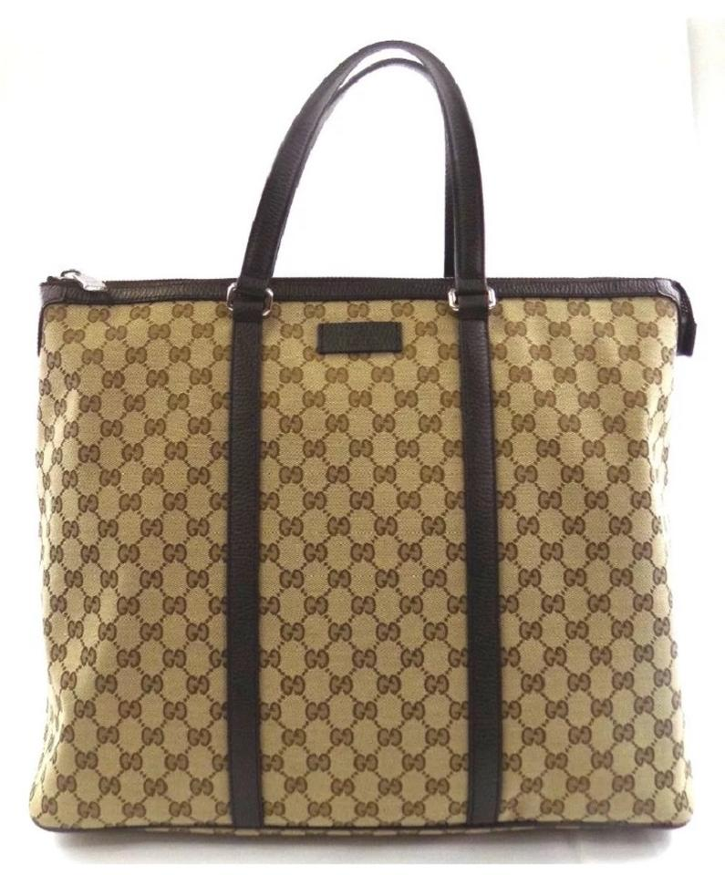 b086a26aac6 Gucci Gg Tote  449170 Beige Ebony Canvas Weekend Travel Bag - Tradesy