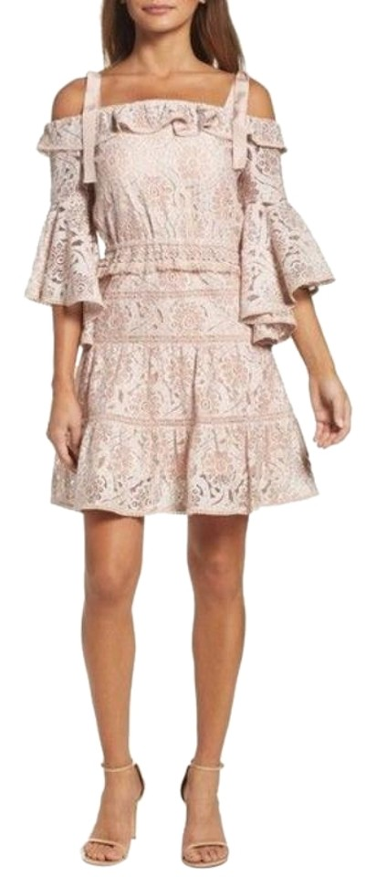 0927dec528d6 Anthropologie Pink Cream Highly Detailed Floral Cutout Lace Ruffles Boho  Fringe Night Out Dress