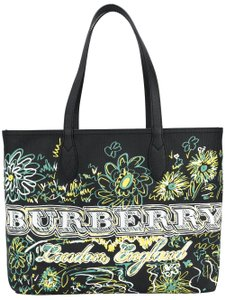 Burberry Doodle Reversible Medium White Canvas Tote in black multi