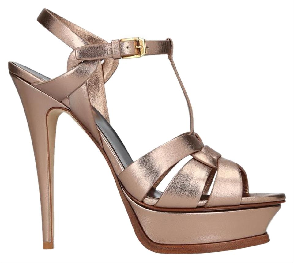 8a74a96f40e Saint Laurent Gold Tribute 105 Sandals. Size  EU 37.5 (Approx. US 7.5)  Regular (M ...