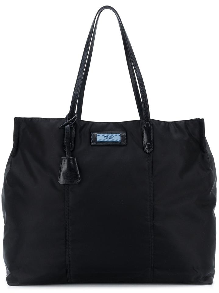great variety styles largest selection of 2019 exquisite craftsmanship Prada Etiquette Black Nylon Leather Tote 23% off retail