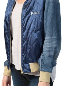 PRPS blue with gold metallic cuffs and neck Womens Jean Jacket