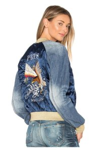 PRPS Bomber Bomber blue with gold metallic cuffs and neck Womens Jean Jacket