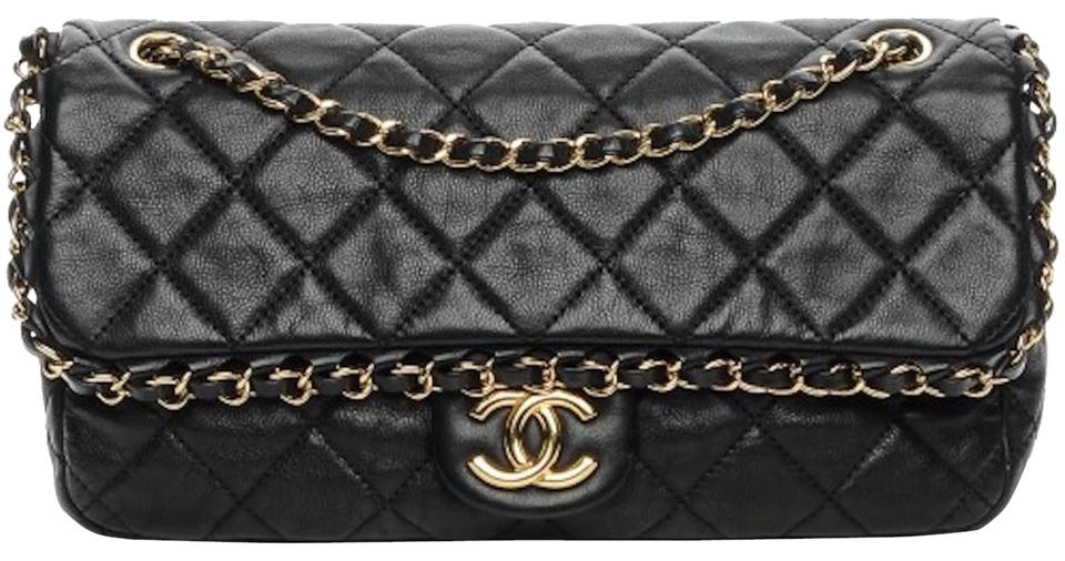 3ec5af0e32c0 Chanel Classic Chain Me Around Single Flap Jumbo Maxi Cc Logo Ghw Black  Calfskin Shoulder Bag