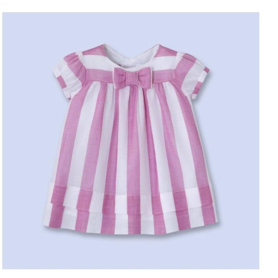 Jacadi Pink + White Baby Girl Striped Hat 6m Short Casual Dress Size ... 95346ce7fed