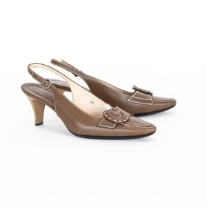 Tod's Leather Slingback Brown Pumps