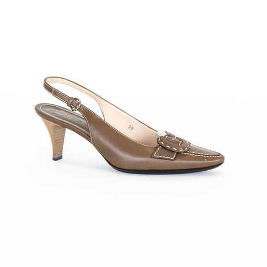 Tod's Leather Slingback Brown Pumps Image 3