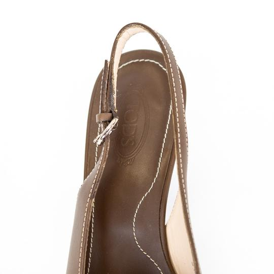Tod's Leather Slingback Brown Pumps Image 6