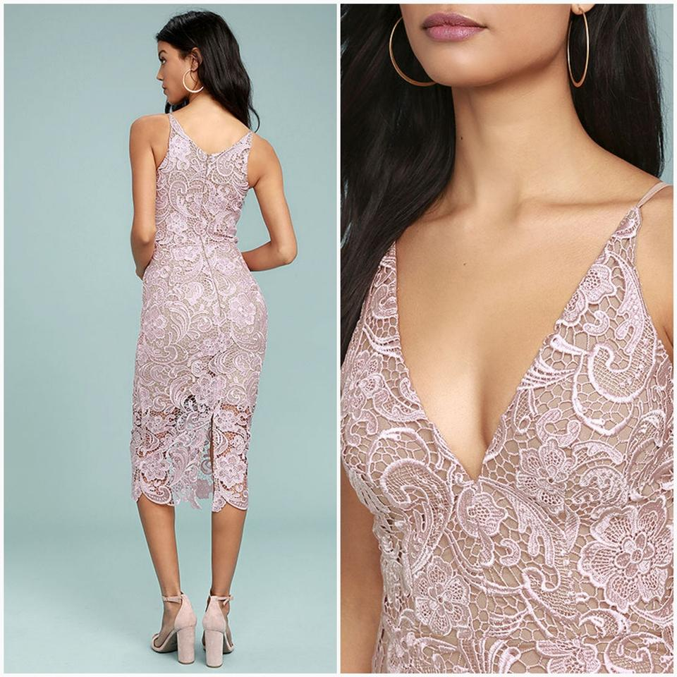 5a26c769fb0 Dress the Population Blush and Tan Marie Lace Midi Mid-length Cocktail Dress  Size 12 (L) - Tradesy