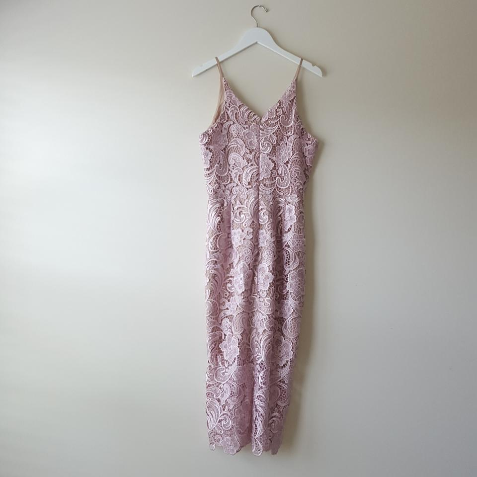 Dress The Population Blush And Tan Marie Lace Midi Mid Length Cocktail Dress Size 12 L 28 Off Retail