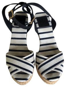 Tory Burch white and navy Wedges