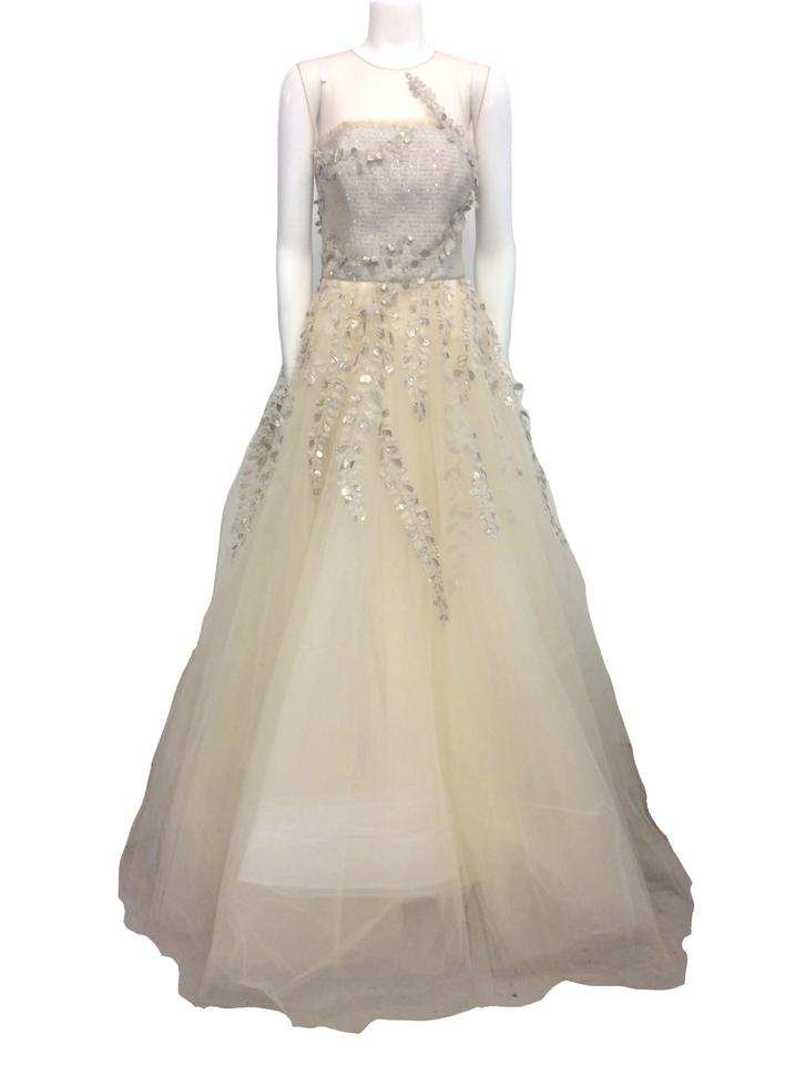 Oscar De La A Gold Illusion Neck Fern Embroidered Ball Gown Long Formal Dress Size 6 S