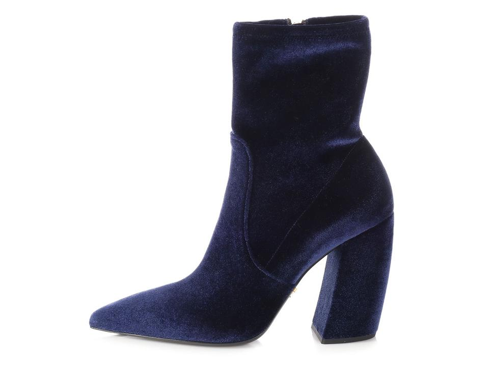 3cd57c05f5a Prada Pr.p0326.07 Velvet Ankle Navy Pointed Toe Blue Boots Image 0 ...