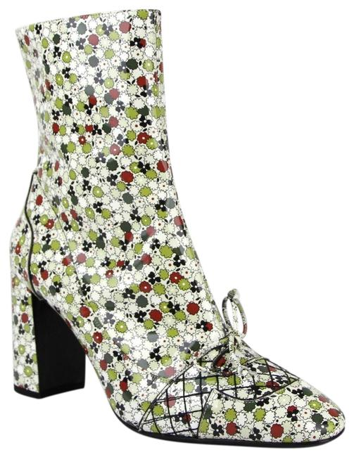 Item - Green/Red W Green/Red Leather Floral W/Zipper It 40/Us 10 430535 8071 Boots/Booties Size EU 40 (Approx. US 10) Regular (M, B)