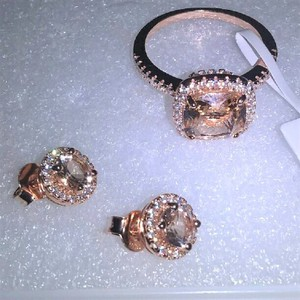 Unbranded Rose Gold & Clear Cz 925 Sterling Silver Morganite Gp& Ring Studs Sed Jewelry Set