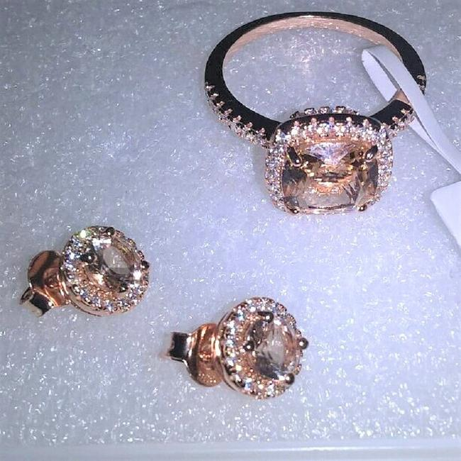 Item - Rose Gold & Clear Cz 925 Sterling Silver Morganite Gp& Ring Studs Sed Jewelry Set