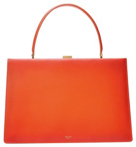 Céline Minimalist Classic Chic French Simple Satchel in Orange