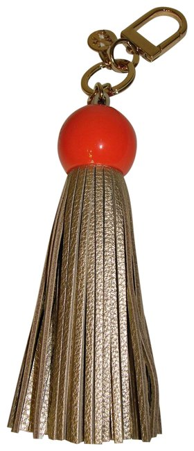 Item - Coral/Gold Resin & Leather Tassel Key Fob Coral/Gold