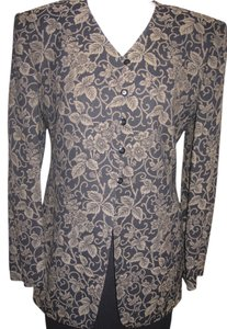 Jones New York Print Crepe Lined Dryclean Only Cardigan